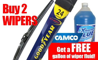 Buy Two Goodyear wiper blades and receive a free gallon of washer Camco Washer Fluid